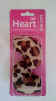 Heart car air fresheners, animal print (Code 1229)